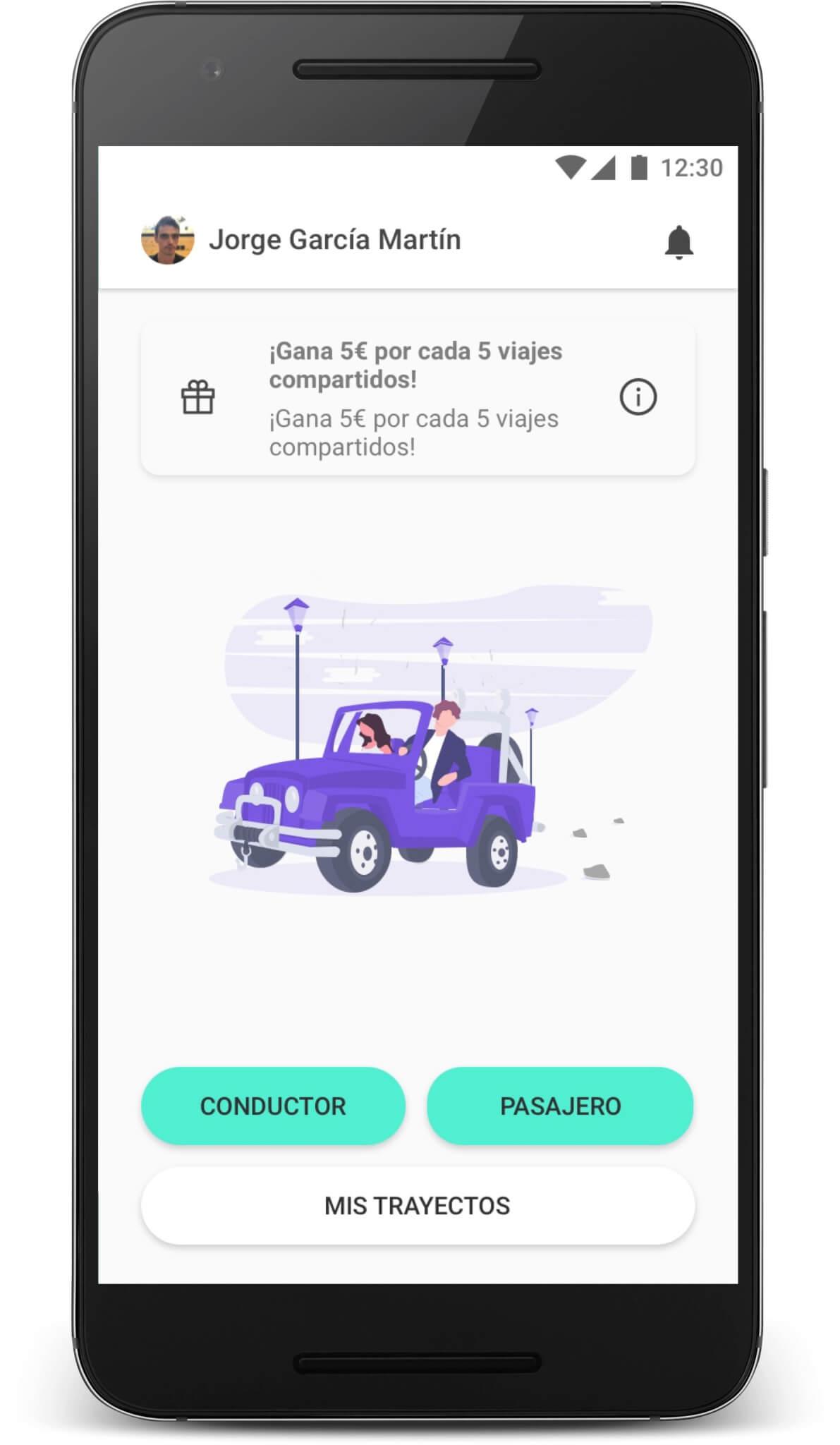 Captura pantalla aplicación compartir coche